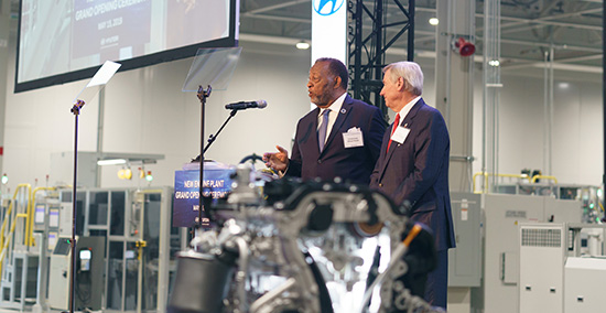 Dean speaking at Hyundai ribbon cutting ceremony